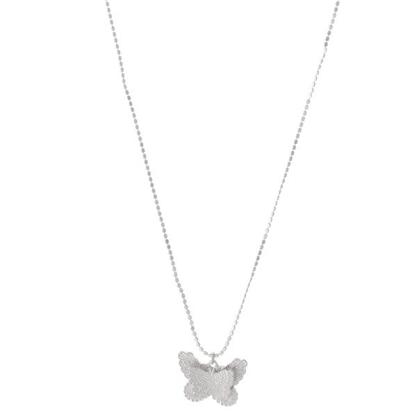 """Textured Metal Butterfly Pendant Necklace.  - Pendant 1""""  - Approximately 16"""" L  - 3"""" Adjustable Extender"""