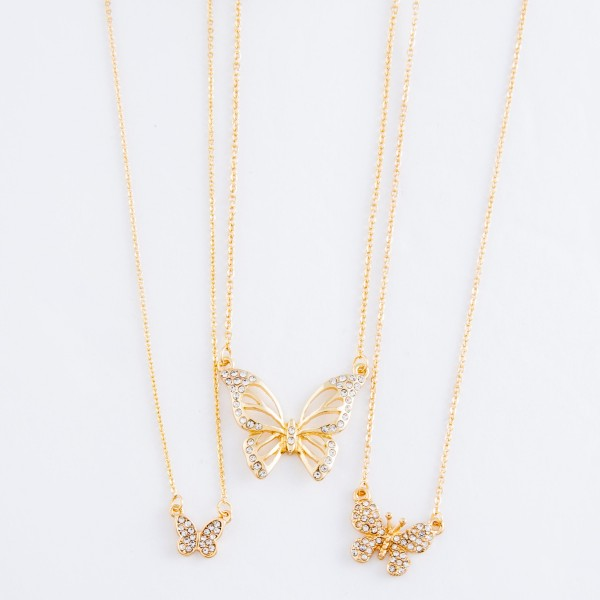 "Gold rhinestone butterfly pendant necklace.  - Pendant approximately .75""  - Approximately 18"" L overall - 2"" extender"