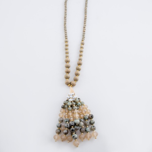 "Long Wood Beaded Semi Precious Beaded Tassel Statement Necklace.  - Tassel 4""  - Approximately 40"" L Overall - 3"" Adjustable Extender"