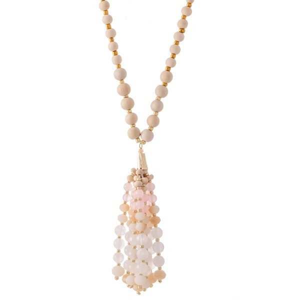 """Long Wood Beaded Semi Precious Beaded Tassel Statement Necklace.  - Tassel 4""""  - Approximately 40"""" L Overall - 3"""" Adjustable Extender"""