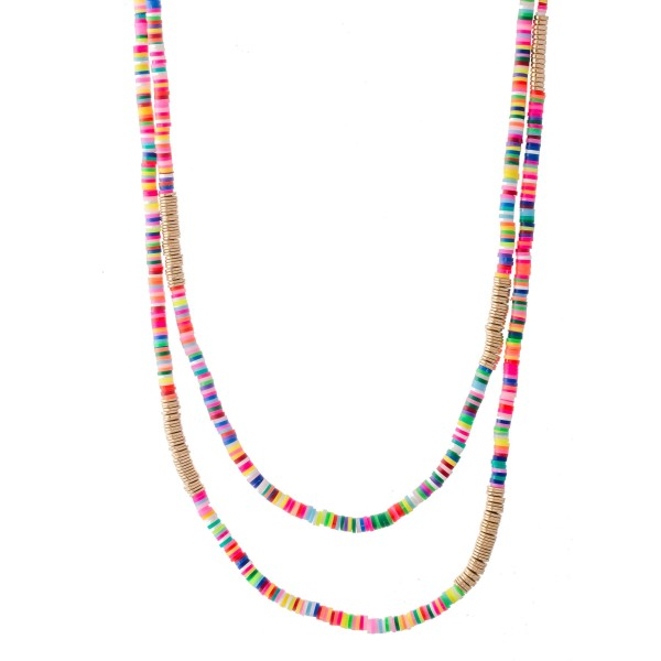 """Rubber Spacer Beaded Layered Statement Necklace with Metal Spacer Accents.  - Shortest Layer Approximately 20"""" L - Approximately 26"""" L Overall  - 3"""" Adjustable Extender"""