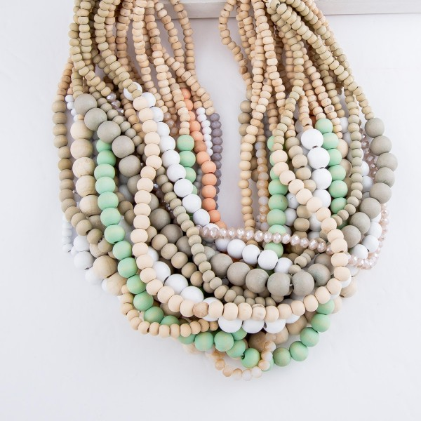 """Short Layered Wood Beaded Statement Necklace with Faceted Bead Detail.  - Approximately 16"""" L  - 3"""" Adjustable Extender"""