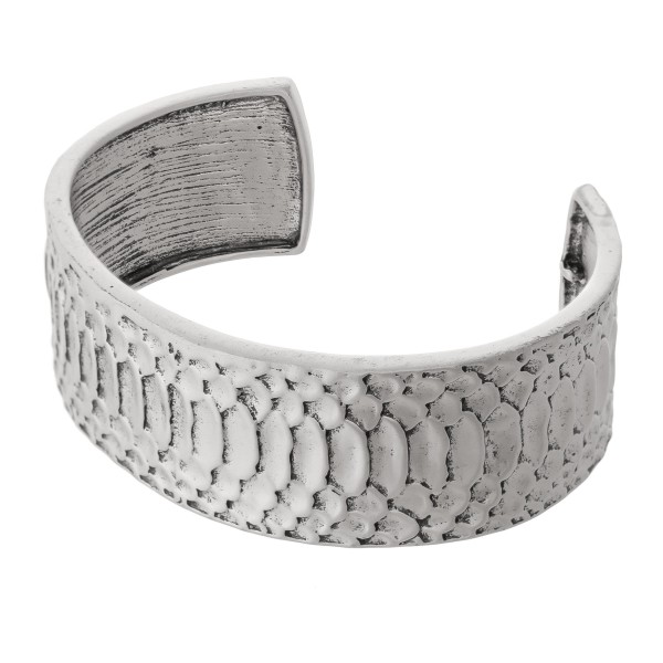"Antique Metal Snakeskin Cuff Bracelet.  - Open Cuff - Approximately 2.5"" in diameter - Fits up to a 5"" wrist"
