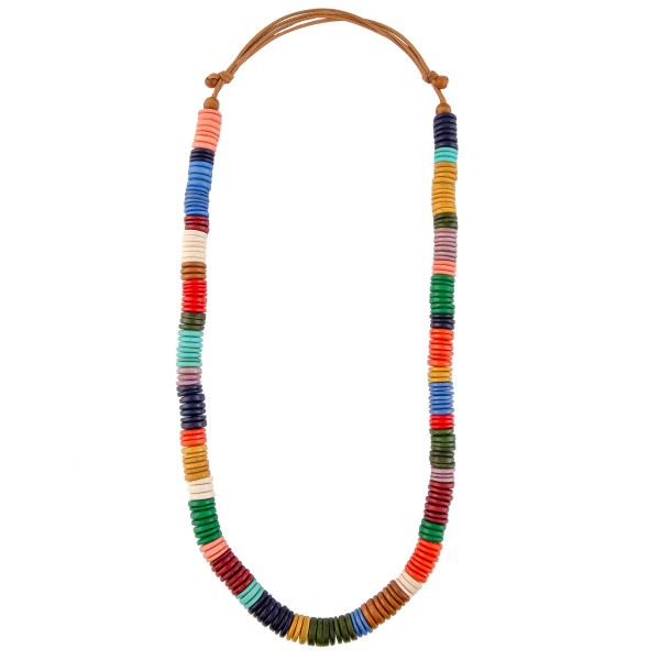 """Long Wooden Multicolored Statement Necklace.   - Approximately 34"""" L"""