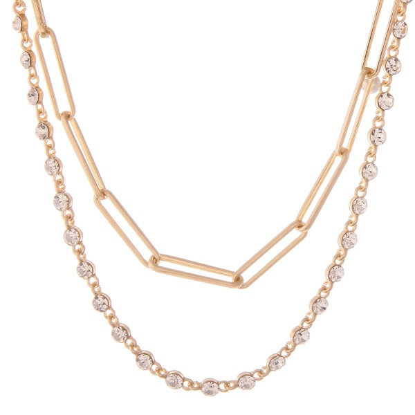 """Rhinestone Hera Chain Link Layered Necklace.  - Approximately 14"""" L - 2"""" Adjustable Extender"""