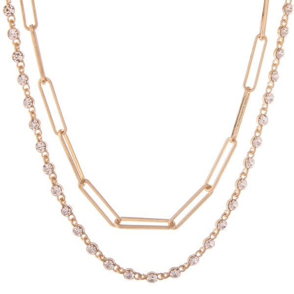 """Rhinestone Hera Chain Link Layered Necklace in Worn Gold.  - Approximately 14"""" L - 2"""" Adjustable Extender"""