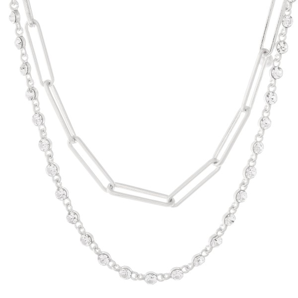 """Rhinestone Hera Chain Link Layered Necklace in Worn Silver.  - Approximately 14"""" L - 2"""" Adjustable Extender"""