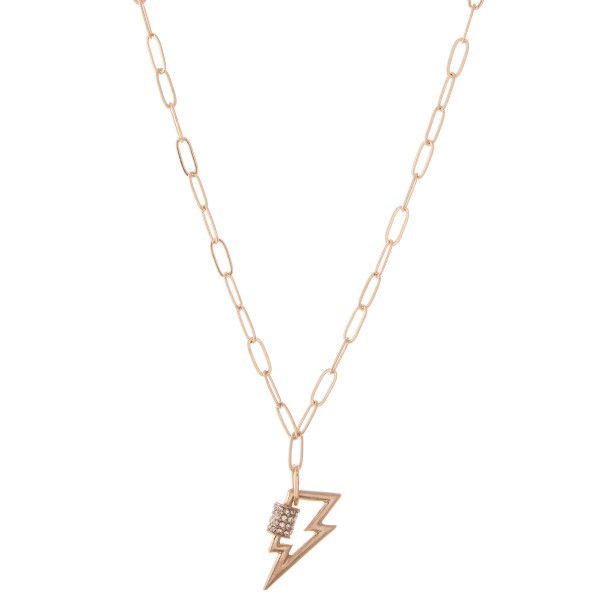 "Chain Link Rhinestone Lightning Bolt Carabiner Necklace in Worn Gold.  - Approximately 20"" L  - 2"" Adjustable Extender"