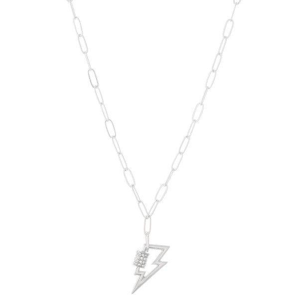 "Chain Link Rhinestone Lightning Bolt Carabiner Necklace in Worn Silver.  - Approximately 20"" L  - 2"" Adjustable Extender"