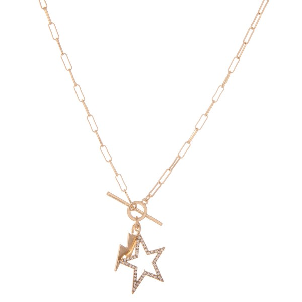 "Chain Link Rhinestone Star Toggle Bar Necklace with Lightning Bolt Accent in Worn Gold.  - Approximately 18"" L"
