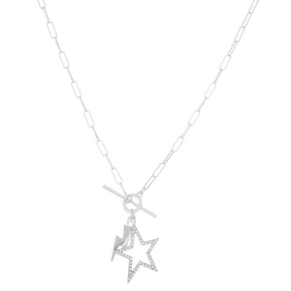 "Chain Link Rhinestone Star Toggle Bar Necklace with Lightning Bolt Accent in Worn Silver.  - Approximately 18"" L"