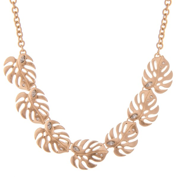 """Metal Palm Leaf Statement Necklace with Clear Rhinestone Accents in Worn Gold.  - Approximately 15"""" L - 2"""" Adjustable Extender"""