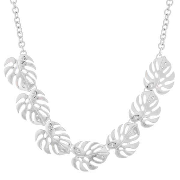 "Metal Palm Leaf Statement Necklace with Clear Rhinestone Accents in Worn Silver.  - Approximately 15"" L - 2"" Adjustable Extender"