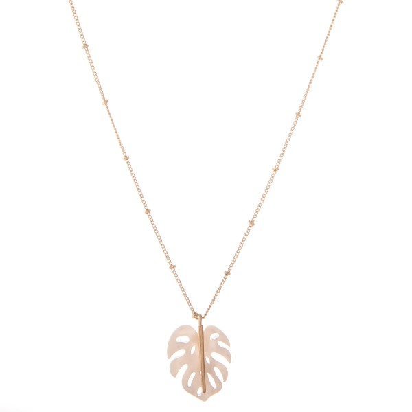 Wholesale resin Palm Leaf Necklace Pendant L Adjustable Extender