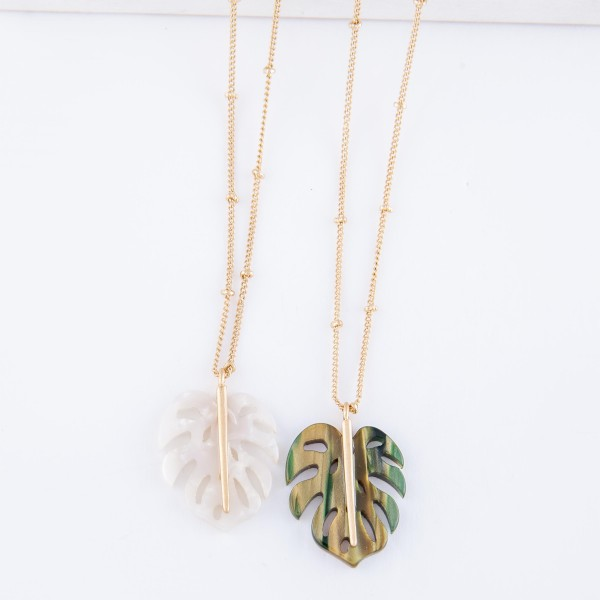 "Resin Palm Leaf Necklace.  - Pendant 1"" - Approximately 16"" L  - 2"" Adjustable Extender"