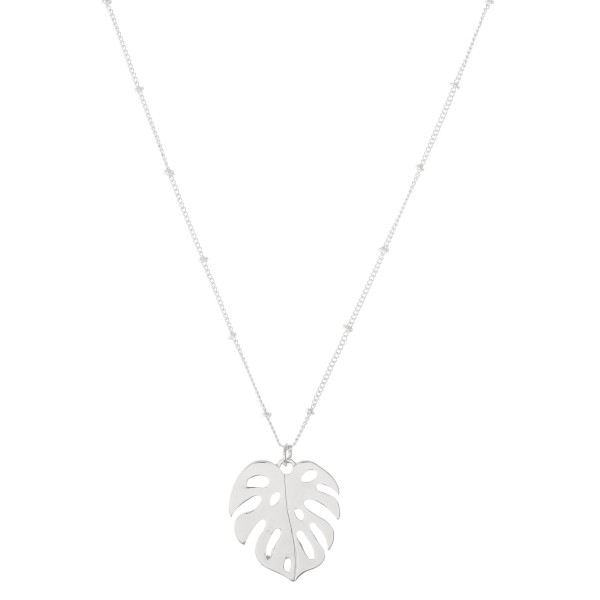 "Metal Palm Leaf Pendant Necklace.  - Pendant 1"" - Approximately 16"" L - 2"" Adjustable Extender"