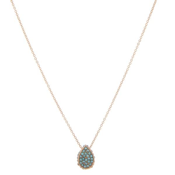 "Rhinestone Teardrop Necklace.  - Pendant .5"" - Approximately 16"" L - 2"" Adjustable Extender"