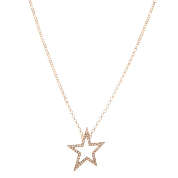 "Rhinestone Star Pendant Necklace.  - Pendant 1""  - Approximately 16"" L  - 2"" Adjustable Extender"