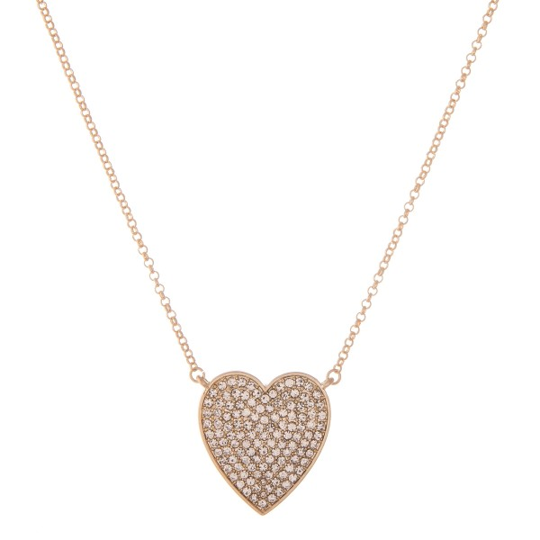 "Rhinestone Heart Pendant Necklace.  - Pendant 1.25""  - Approximately 16"" L - 2"" Adjustable Extender"
