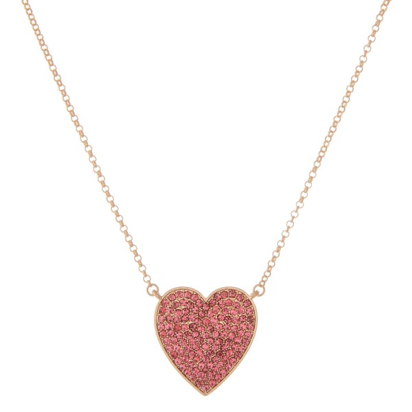 "Rhinestone Heart Pendant Necklace.  - Pendant 1.25""  - Approximately 16"" L - 2"" Adjustable Extender"