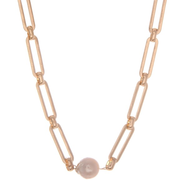 "Hera Chain Link Pearl Statement Necklace in Worn Gold.  - Approximately 14"" L  - 2"" Adjustable Extender"