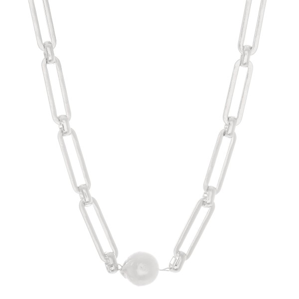 "Hera Chain Link Pearl Statement Necklace in Worn Silver.  - Approximately 14"" L  - 2"" Adjustable Extender"
