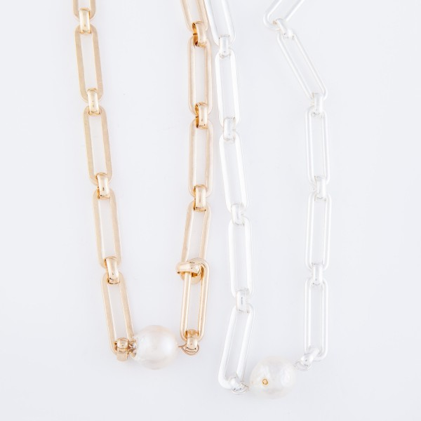 """Hera Chain Link Pearl Statement Necklace in Worn Silver.  - Approximately 14"""" L  - 2"""" Adjustable Extender"""
