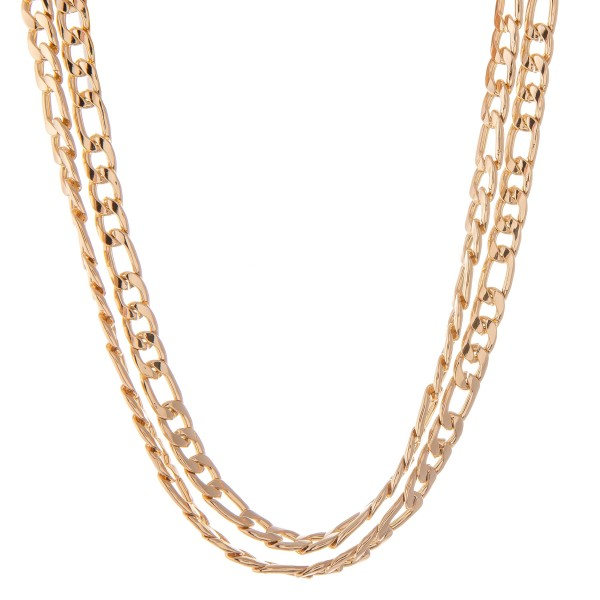 "Curb Chain Link Layered Necklace.  - Approximately 14"" L - 2"" Adjustable Extender"
