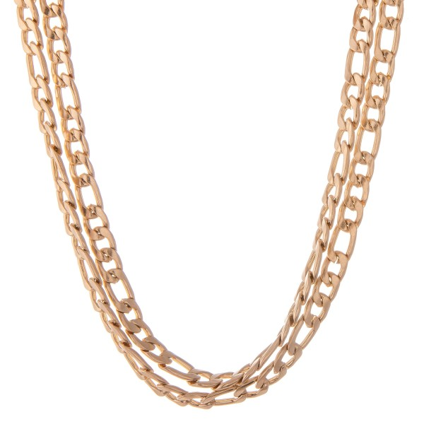 "Curb Chain Link Layered Necklace in Worn Gold.  - Approximately 14"" L - 2"" Adjustable Extender"