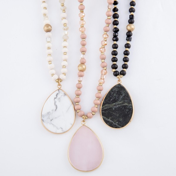 """Long Wood Beaded Semi Precious Teardrop Pendant Necklace with Glass Bead Accents.  - Pendant 1.5""""  - Approximately 34"""" L  - 3"""" Adjustable Extender"""