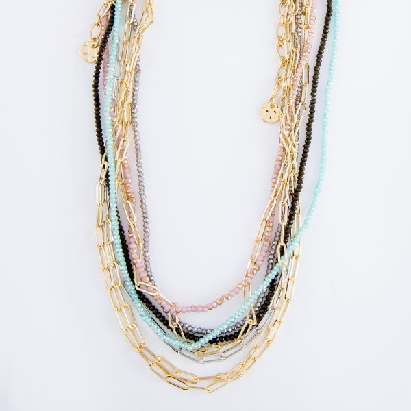 "Short Layered Beaded Hera Link Necklace.  - Approximately 14"" L  - 3"" Adjustable Extender"