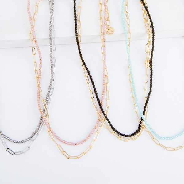 """Short Layered Beaded Hera Link Necklace.  - Approximately 14"""" L  - 3"""" Adjustable Extender"""