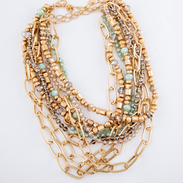 """Semi Precious Chain Link Layered Statement Necklace.  - Approximately 16"""" L  - 3"""" Adjustable Extender"""