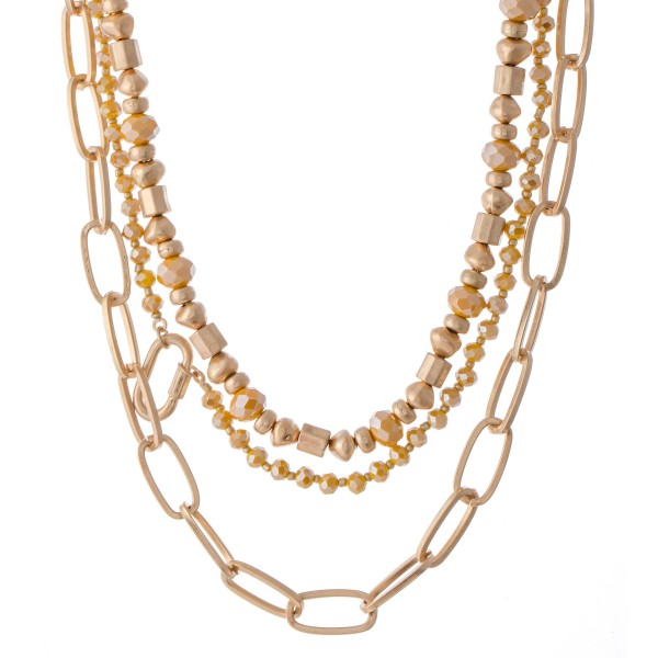 "Semi Precious Chain Link Layered Statement Necklace.  - Approximately 16"" L  - 3"" Adjustable Extender"