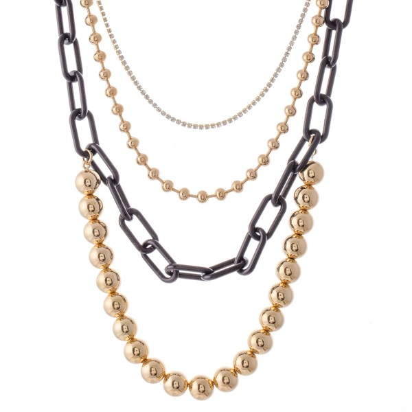 """CCB Ball Chain Link Layered Necklace with Rhinestone Details.  - Shortest Layer 12"""" L - Approximately 20"""" L overall - 3"""" Adjustable Extender"""