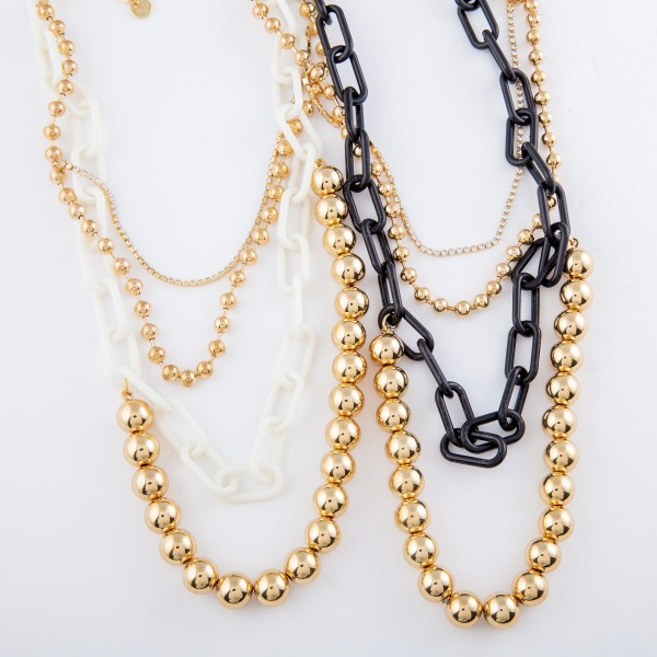 "CCB Ball Chain Link Layered Necklace with Rhinestone Details.  - Shortest Layer 12"" L - Approximately 20"" L overall - 3"" Adjustable Extender"