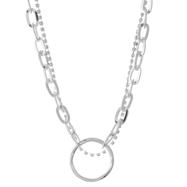"Chain Link Rhinestone Layered Ring Necklace.  - Approximately 16"" L  - 3"" Adjustable Extender"