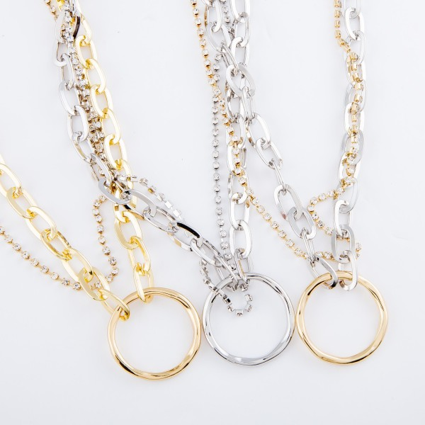 """Chain Link Rhinestone Layered Ring Necklace.  - Approximately 16"""" L  - 3"""" Adjustable Extender"""