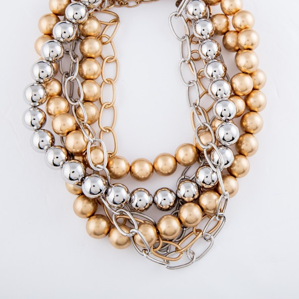 """CCB Chain Link Layered Statement Necklace.  - Approximately 18"""" L  - 3"""" Adjustable Extender"""