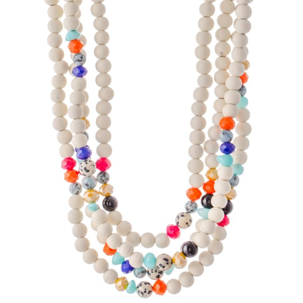 """Ivory Wood Beaded Multicolor Natural Stone Layered Statement Necklace.  - Approximately 20"""" L  - 3"""" Adjustable Extender"""