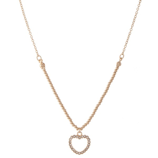 "Heart Necklace with Rhinestone Details.  - Pendant .5"" - Approximately 16"" L  - 3"" Adjustable Extender"