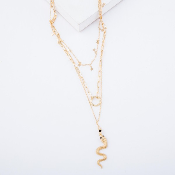 "Chain Link Layered Snake Pendant Necklace with Star Accents.  - Pendant 1.5""  - Shortest Layer 14""  - Approximately 24"" L overall - 3"" Adjustable Extender"