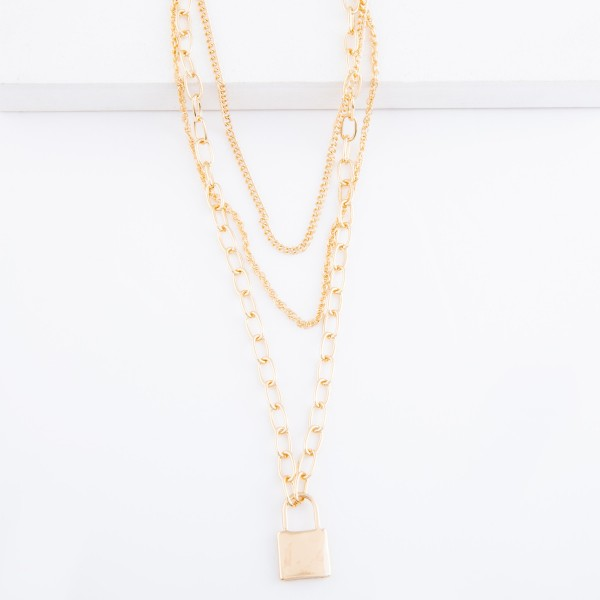 """Layered Chain Link Lock Necklace.  - Pendant 1""""  - Shortest layer approx. 14"""" L - Approximately 20"""" L overall - 3"""" Adjustable Extender"""