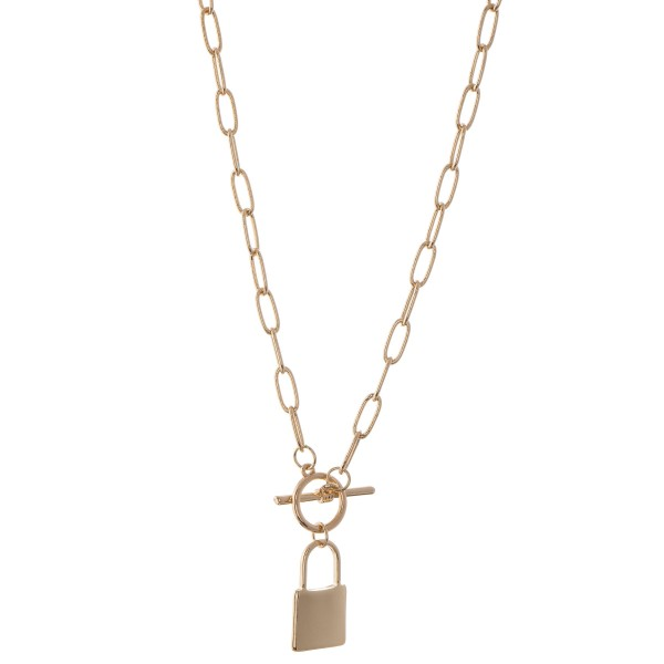 "Chain link toggle bar lock pendant necklace.  - Pendant approximately 1""  - Approximately 22"" L overall"