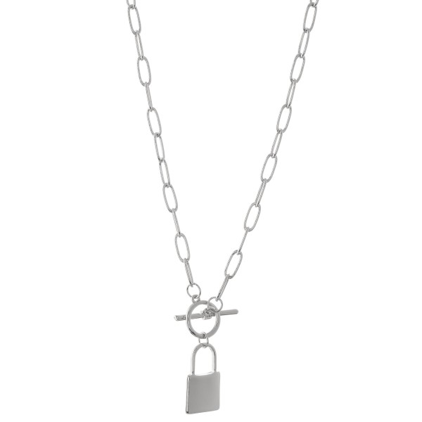 Wholesale chain link toggle bar lock pendant necklace Pendant L overall