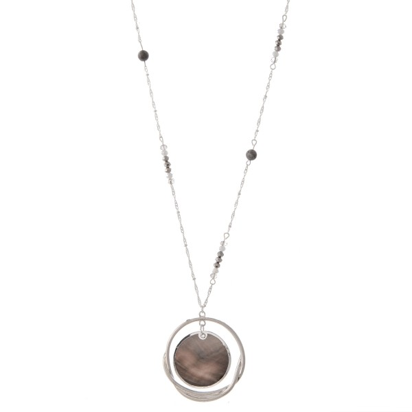 """Long Abalone Nested Pendant Necklace with Beaded Detail.  - Pendant 2"""" in diameter - Approximately 34"""" L  - 3"""" Adjustable Extender"""