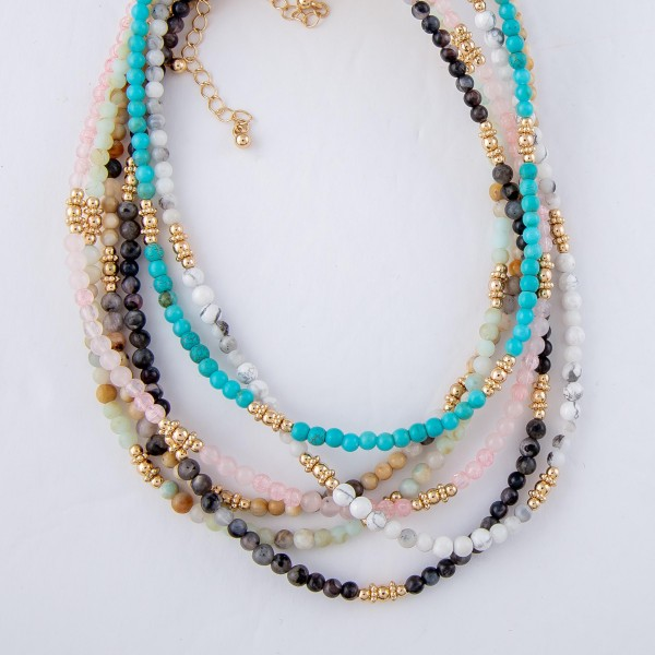 "Short Natural Stone Beaded Necklace with Gold Accents.  - Approximately 14"" L  - 3"" Adjustable Extender"