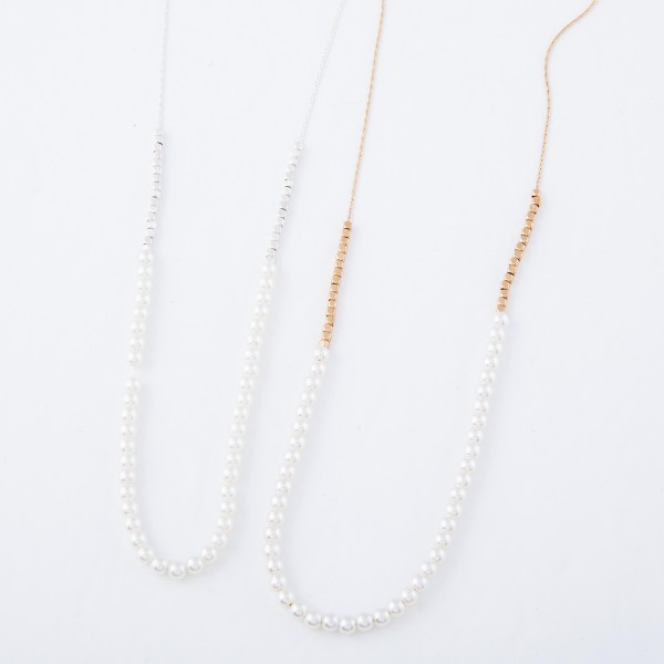 """Ivory Pearl Beaded Necklace.  - Approximately 16"""" L  - 3"""" Adjustable Extender"""