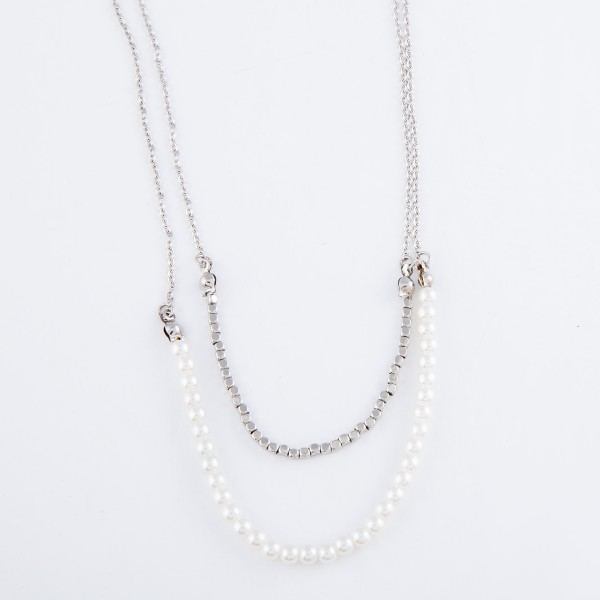 """Ivory Pearl Beaded Layered Necklace.  - Approximately 18"""" L  - 3"""" Adjustable Extender"""