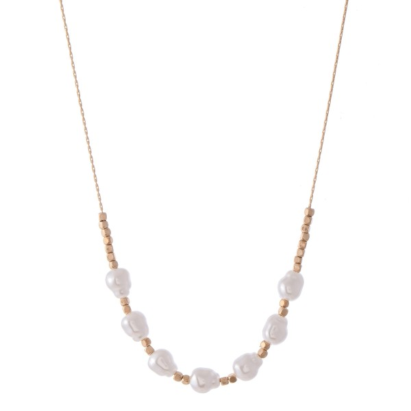 "Ivory Baroque Pearl Beaded Necklace.  - Approximately 16"" L"